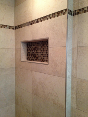 custom large format tile shower tampa florida niche no curb linear drain