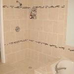 tampa orlando master shower porcelain tile glass & marble accent custom niche