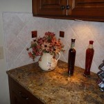 un filled travertine kitchen backsplash diagonal glass accent tile