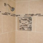 custom tile and marble shower and niche Florida