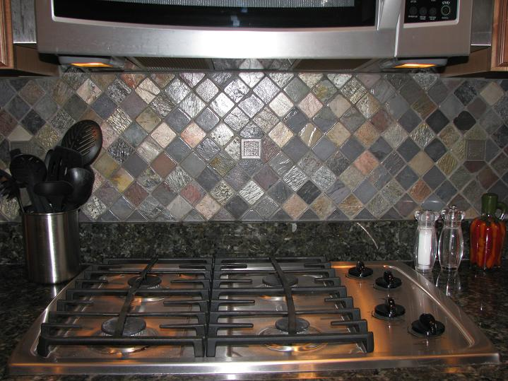 Multi Colored Backsplash Kitchen