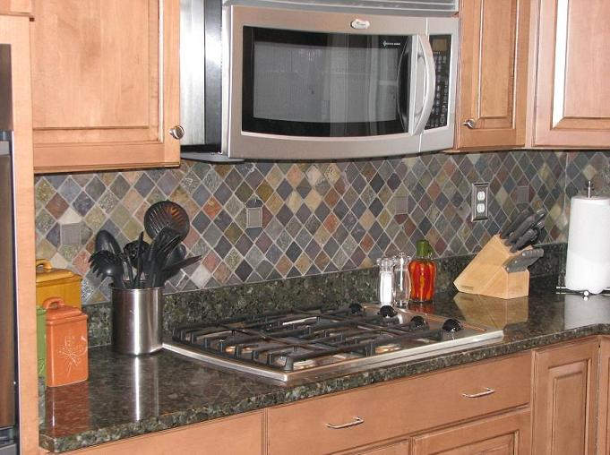 Custom Backsplash Florida Multi Colored Slate Metallic Deco Tile Contractor Www Ceramictec Com