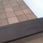bathroom shower curb Ipe Brazilian wood with ceramic tile & procelain floor