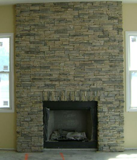 Installing Stone Veneer For A Stacked Stone Fireplace Party Invitations Ideas
