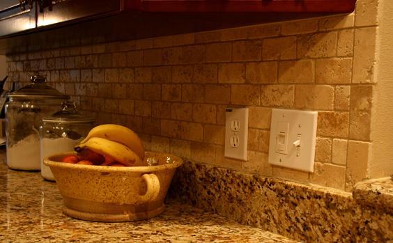2x4 Tumbled Brick Chiaro Travertine Backsplash Installation Tampa Sarasota Brandon Bradenton St Pete Clearwater