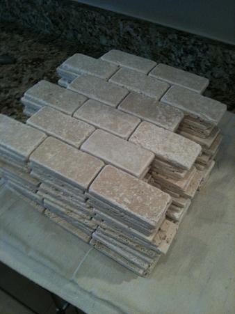 ceramictec 2x4 tumbled chiaro travertine backsplash