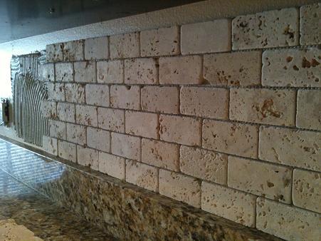 2x4 Tumbled Brick Chiaro Travertine Backsplash Installation Tampa Sarasota Brandon Bradenton St Pete Clearwater Florida