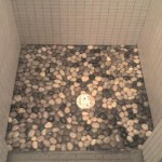 Pebble Shower & Plank Tile Bathroom tampa st petersburg st pete sarasota brandon brandenton largo tile installation