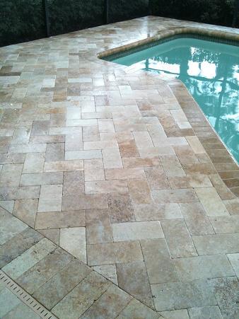 ceramictec - travertine herringbone paver pool deck new tampa florida