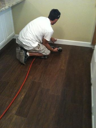 Tampa Porcelain Plank Wood Look Tile Installation Ceramictec - Dark brown tile that looks like wood