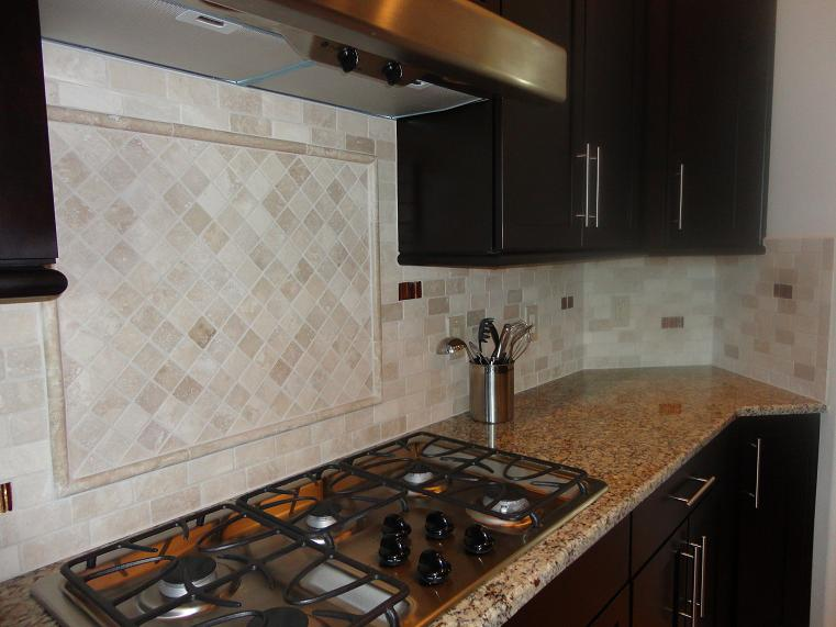 custom 2x4 tumbled travertine with glass tile back splash tampa sarasota brandon bradenton lutz wesley chapel