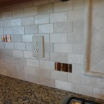 Custom 2x4 Tumbled Travertine with Glass Tile Back Splash tampa sarasota brandon bradenton lutz wesley chapel new port richey oldsmar florida install installer installation