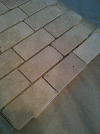 Ceramictec 2 4 tumbled travertine back splash with glass for Travertine accent tile