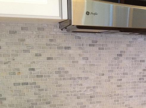 White Carrara Mini Brick Marble Mosaic Back Splash Clearwater Brandon Lutz Wesley Chapel Florida